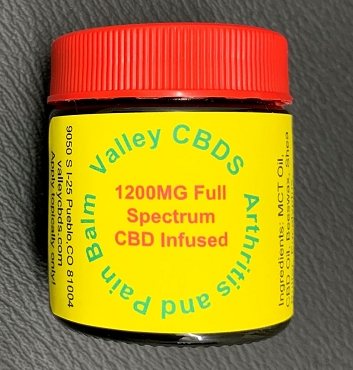 Valley CBDS Arthritis and Pain Balm 1200 MG Full Spectrum CBD Infused 1 oz size